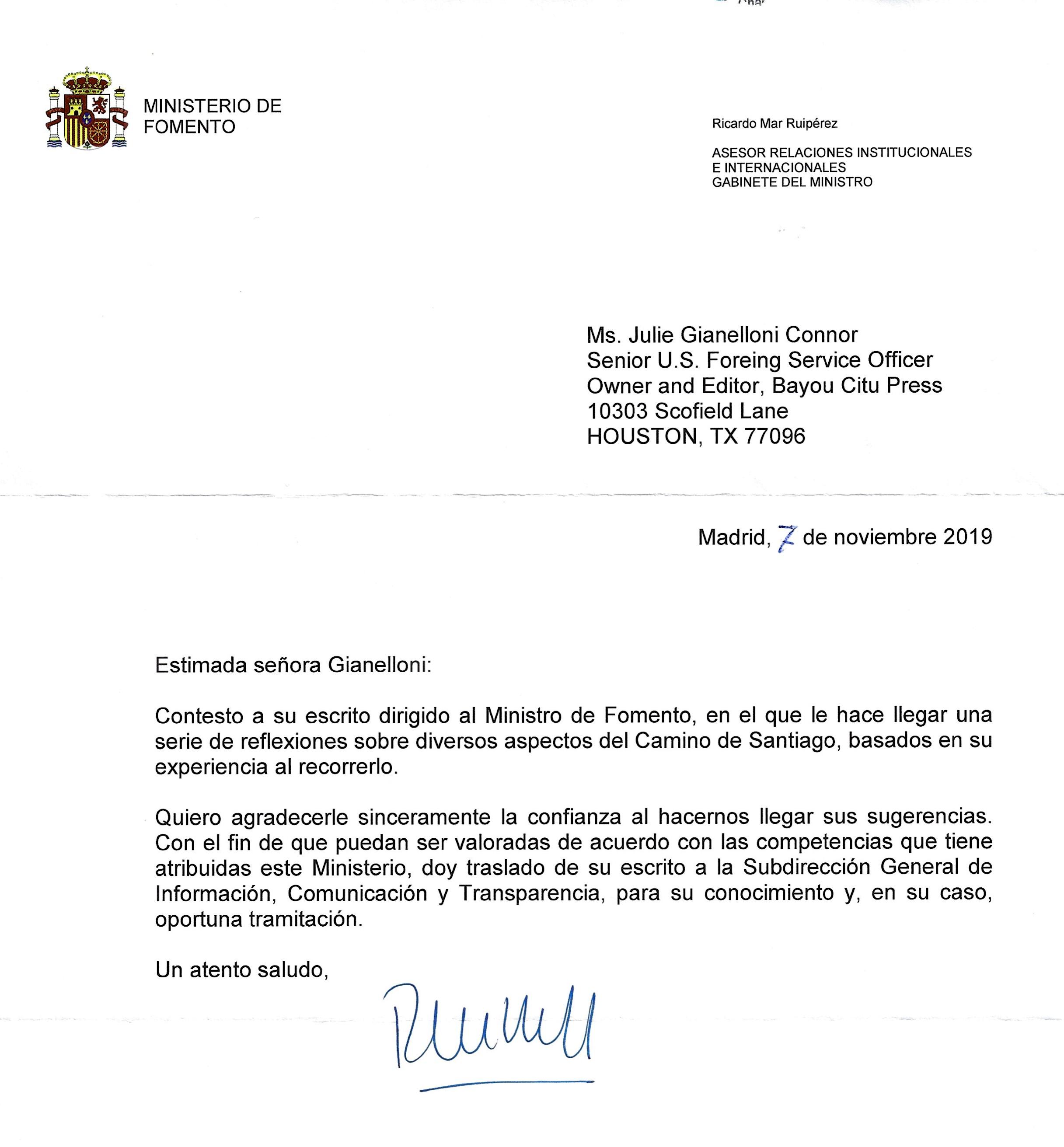 Ministrerio De Fomento Response 11-7-19