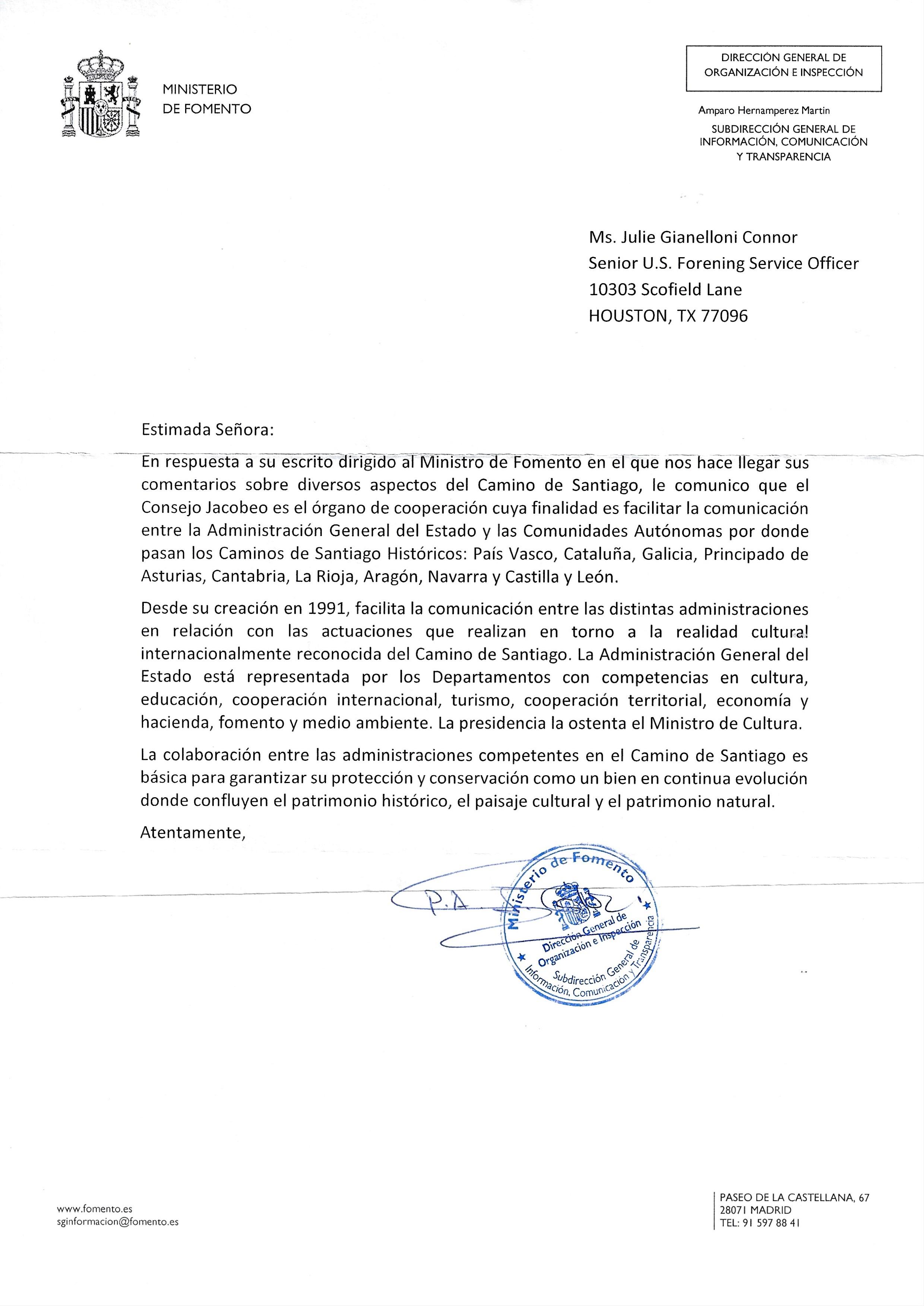 Ministrerio De Fomento Response